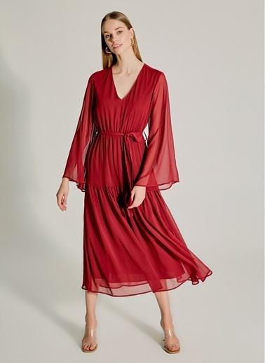 NGSTYLE Eteği Volanlı Maxi Elbise Bordo